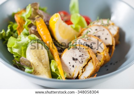Modern style salad with roasted chicken breast roll - stock photo
