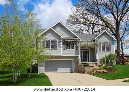 Modern style suburban home - stock photo