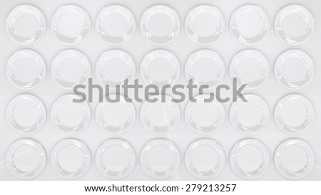 Modern Style White Wall in White Plates like Disks
