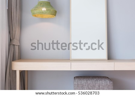 Modern Style Wooden Dressing Table Top In Bed Room, Interior Of A Modern  House .