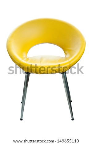 Modern style yellow leather chair. - stock photo