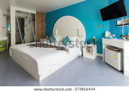 Modern styles of bedroom of resort in Thailand - stock photo
