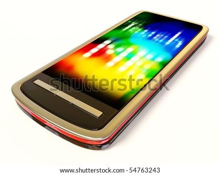 modern stylish  mobile phone on white background - stock photo