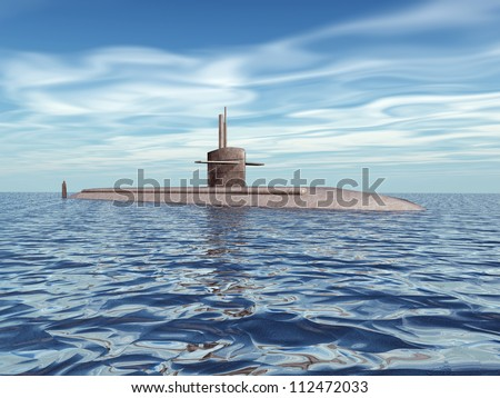 Modern Submarine Computer generated 3D illustration