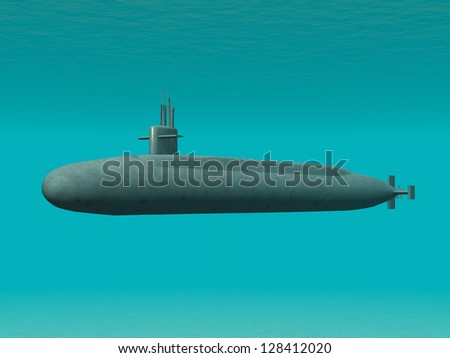 Modern Submarine Computer generated 3D illustration - stock photo