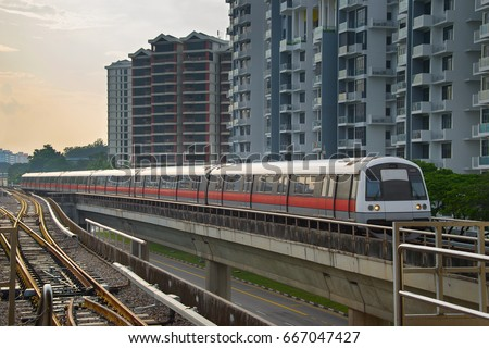 Modern subway train on a railroad in Sinapore
