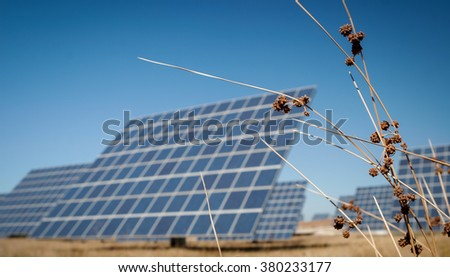 Modern sun energy farm solar panels, for eco and nature renewable production.