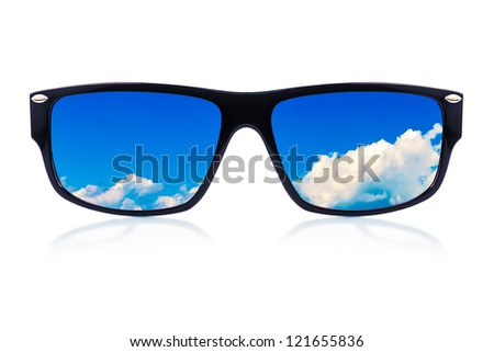 Modern sunglasses with a cloudy sky reflection isolated on a white background