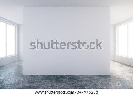 Modern sunny empty loft room with white wall and concrete floor 3D Render - stock photo