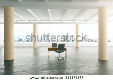 Modern sunny loft style open space office with furniture, big windows and pillars 3D Render