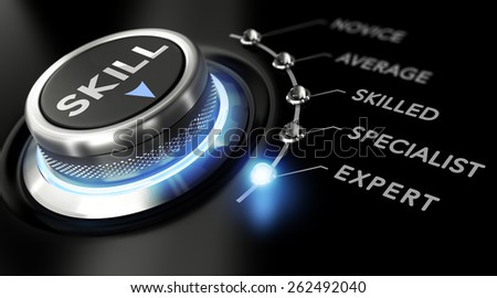 Modern switch with the word skill on the top with the words novice, average, skilled, specialist and expert around it. Black backgorund. Concept of training