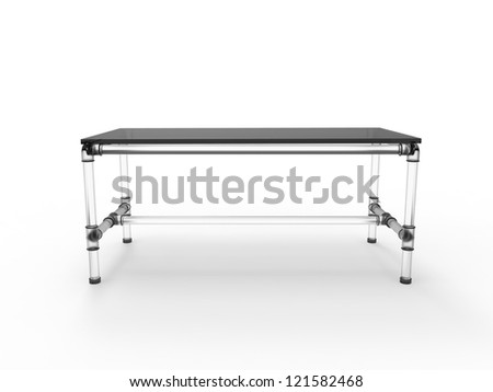 Modern table with scaffold joints isolated on a white background - stock photo