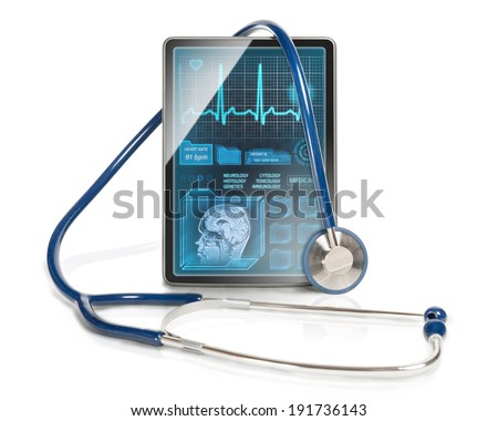 Modern tablet computer with medical interface on it's screen.