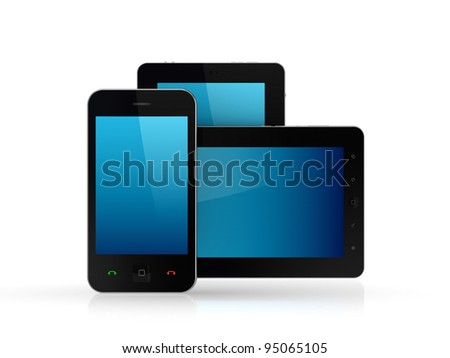 Modern tablet pc and mobile phone.Isolated on white background.3d rendered.