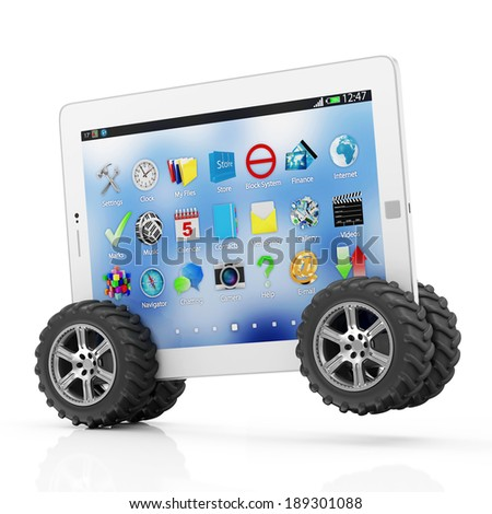 Modern Tablet PC on Wheels isolated on white background - stock photo