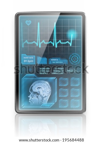 Modern tablet showing medical information - stock photo