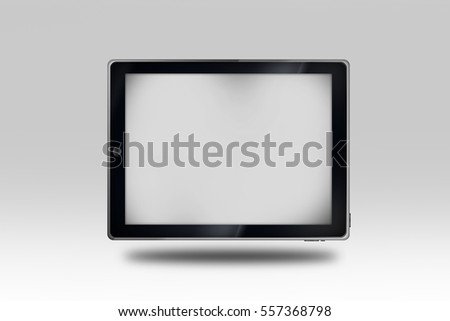 Modern Tablet with Empty Display on Gray Background 3D Illustration. Tablet Device with Display Copy Space.