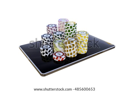 modern tablet with poker chips isolated on white background
