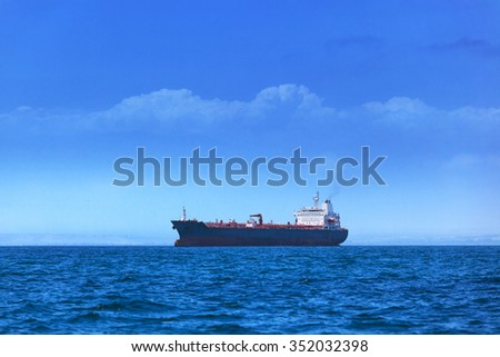 modern tanker in the ocean bay - stock photo