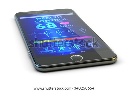 Modern technologies in medicine, mobile pulse tracker, smartphone with health monitoring and heartbeat diagnosis app, isolated on white background - stock photo