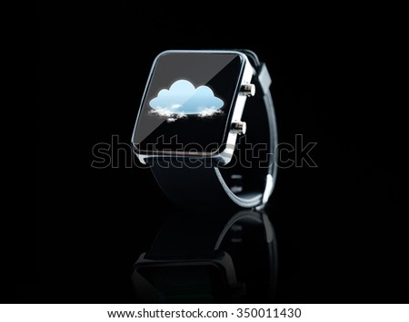 modern technology, computing, object and media concept - close up of black smart watch with cloud icon on screen over black background - stock photo