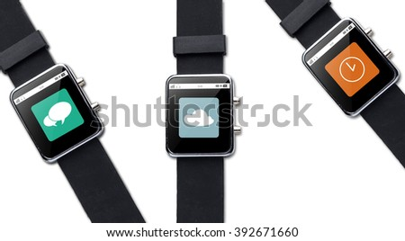 modern technology, object and media concept - close up of black smart watch with application icons on screen