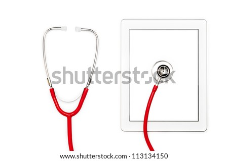 Modern technology of tablet with touch screen. Red stethoscope on mobile computer. Isolated objects on white background. Help in virus detection and repair. System diagnostic and support online. - stock photo