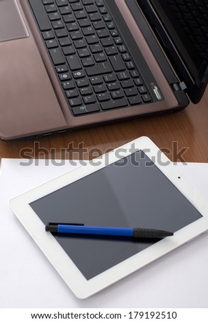 Modern technology on the Worktable - stock photo