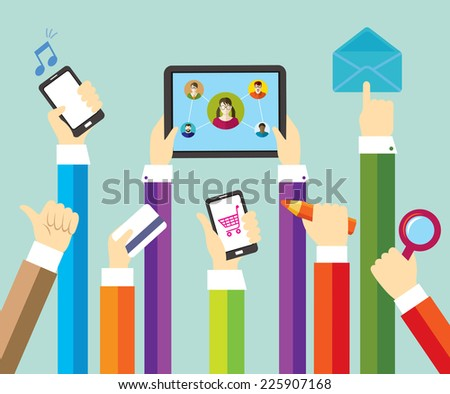 Modern technology. Online shopping and payment. Social network and education. Business.  - stock photo