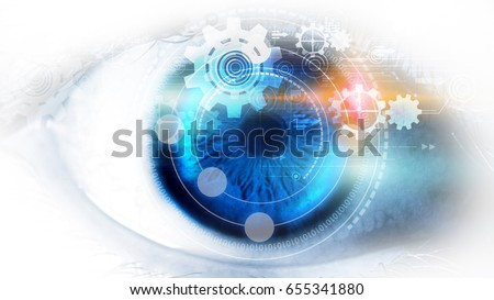 Modern technology screen on human eye. Futuristic modern concept