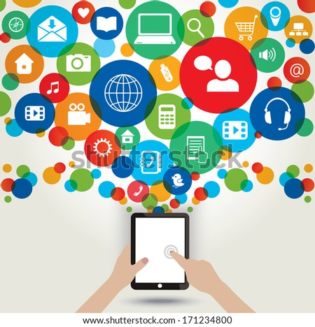 Modern technology. Tablet and media icons. - stock photo