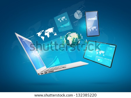 Modern technology thin laptop,mobile phone,touch screen device