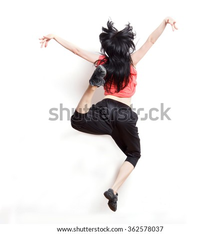 Modern teenage girl dancer dancing contemp  on a white background