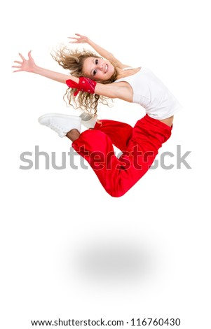 Modern teenage girl dancer jumping against isolated on a white background - stock photo