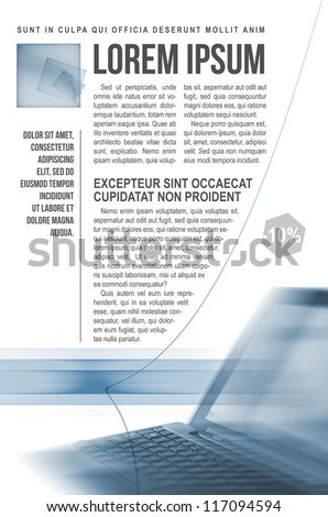 Modern template of newsletter with notebook - stock photo