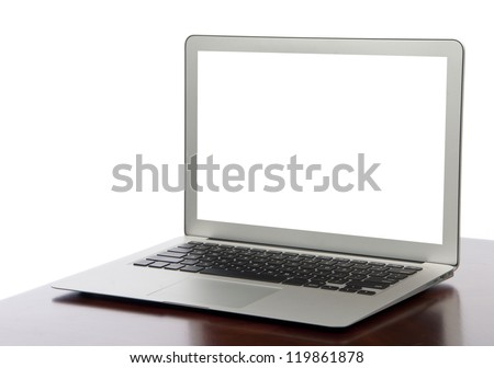 Modern thin  light weight  laptop computer with keyboard and white screen - stock photo