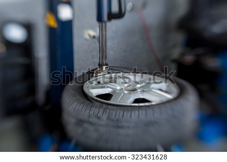 modern tire machine in the service  - stock photo