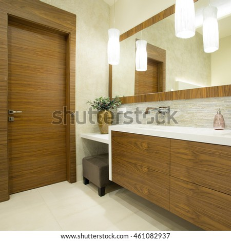 Modern toilet interior with wooden door and furniture