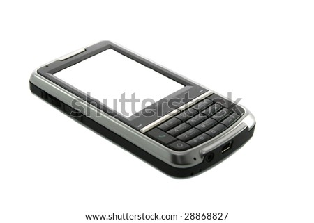 Modern touch screen mobile phone isolated on white.