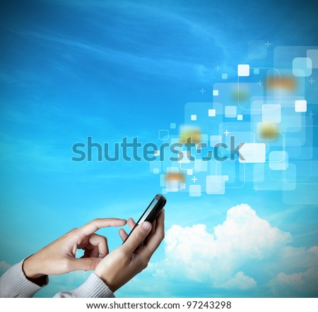 Modern touch screen mobile phone transfer data - stock photo