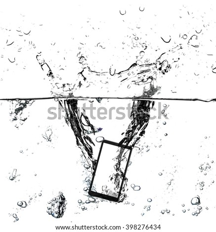 Modern touch screen smart phone and empty screen in water with natural splash and bubbles on screen. White is clipping.