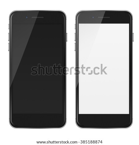 Modern touch screen smart phones in iphon style with smart camera, blank and black screen isolated on white background. - stock photo