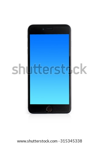 Modern touch screen smartphone and blue screen isolated on white background with clipping path. - stock photo