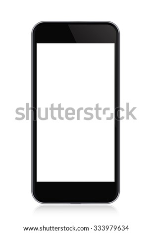 Modern touch screen smartphone and empty screen isolated on white background  - stock photo