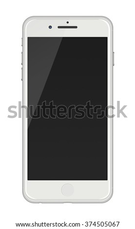 Modern touch screen smartphone in iphon style with smart camera and black screen isolated on white background.