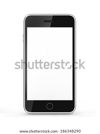modern touch screen smartphone isolated on white background