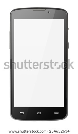 Modern touch screen smartphone isolated on white with clipping path - stock photo