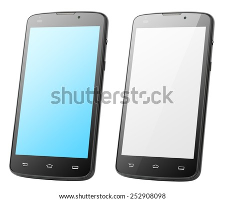 Modern touch screen smartphones isolated on white with clipping path - stock photo