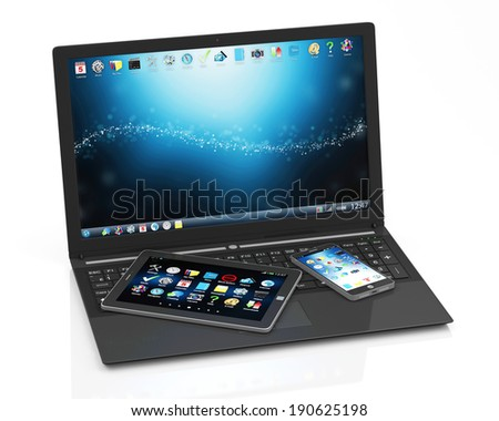 Modern Touchscreen Laptop with Smart Phone and Tablet PC isolated on white background - stock photo