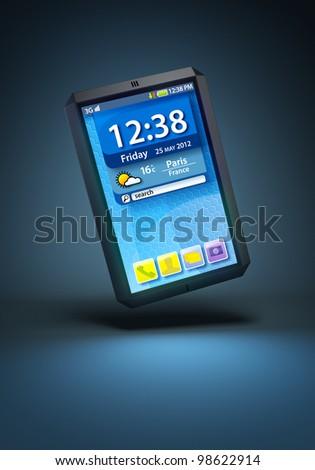 modern touchscreen smartphone, 3d render - stock photo